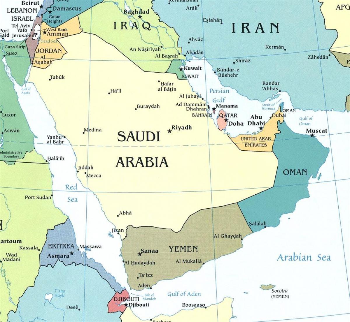 Cartina Asia Occidentale.Mappa Della Penisola Arabica Mappa Della Penisola Arabica Asia Occidentale Asia